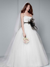 White by Vera Wang Style VW351007  Ball Gown with Asymmetrically Draped Bodice
