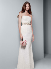 White by Vera Wang Style VW351044  Strapless Draped Lace Column Gown