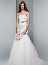 White by Vera Wang Style VW351169  Mikado Fit and Flare Gown with Tulle Skirt