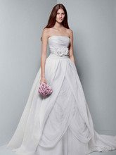 White by Vera Wang Style VW351178  Organza Gown with Draped Bodice and Tulle Skirt