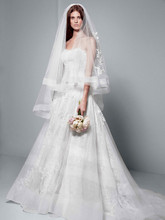 White by Vera Wang Style VW351195  Chantilly Lace Gown with Full A Line Skirt