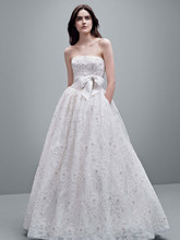 White by Vera Wang Style VW351219  Organza Laser Cut Floral Fabric Ball Gown