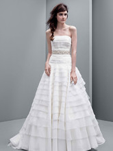 White by Vera Wang Style VW351221  Strapless A-line Drop Waist Organza Gown