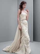 White by Vera Wang Style VW351231  Taffeta Column Gown with Jeweled Vine Belt