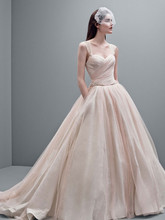 White by Vera Wang Style VW351233  Taffeta Ball Gown with Contrasting Tulle Overlay