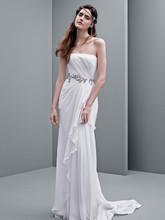 White by Vera Wang Style VW351234  Strapless Crinkle Chiffon Column Gown