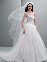 White by Vera Wang Style VW351236  Tulle Ball Gown with Jeweled Lattice Bodice