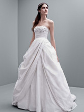 White by Vera Wang Style VW351237  Taffeta Ball Gown with Jeweled Empire Waist Bodice