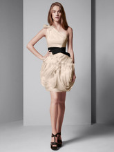 White by Vera Wang Style VW360012  One Shoulder Oraganza Dress with Black Belt
