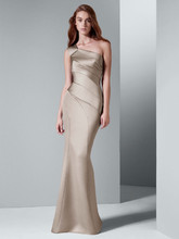 White by Vera Wang Style VW360013  One Shoulder Satin Dress with Asymmetrical Skirt