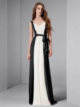 White by Vera Wang Style VW360150  V-Neck Matte Crepe and Crinkle Chiffon Dress