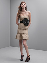 White by Vera Wang Style VW360173  Strapless Floral Jacquard Dress with Flounced Hem