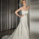 1430 All over lace, Sheath with a Sweetheart neckline ruched bodice, Lace-up and jeweled medallion on waist.