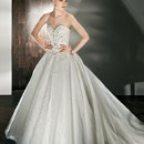 Style 522: Beaded, Sparkling Tulle Ball Gown with a Sweetheart neckline, Basque waist and Removable Wrap-around train.