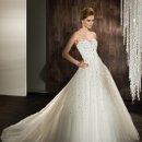 525 Beaded Tulle Strapless with a Sweetheart neckline and tulle, A-line skirt. Beaded belt sold separately.