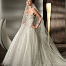 528 Beaded Sparlking tulle, Strapless with a Basque waist, full, A-line skirt, Lace-up back and attached train