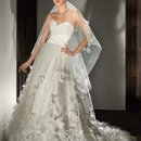 533 Soft tulle, Strapless A-line with a ruched bodice and Sweetheart neckline. Tulle petals are scattered throughout skirt and train. Flower and rhinestone belt sold separately.