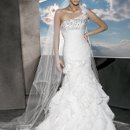 3175 Satin Organza, One Shoulder with beading and ruching on bodice and Lace-up back. Fit'n'Flare Skirt features tiered ruffles and flowers.