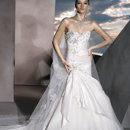 4301 Taffeta, Strapless with a Sweetheart neckline, Fit'n'Flare Skirt and embellished Vine beading on bodice. Skirt features side Pick-up with a Tulle insert