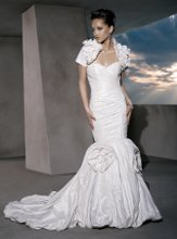 GR219 Strapless, Taffeta with a Fit'n'Flare Silhouette, ruched bodice, Sweetheart neckline and Lace-up back. Skirt features Taffeta flowers and Bubble hem. Matching Bolero Jacket with Flowers.
