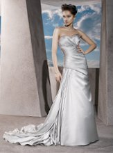 4291 Satin, Strapless, A-line with a Sweetheart neckline, Lace-up back, A-symmetrical ruching on bodice and side drape on Skirt.