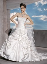 4292 Satin, Strapless with a pleated, beaded lace bodice, Lace-up back and bustled Fit'n'Flare Skirt with flowers.