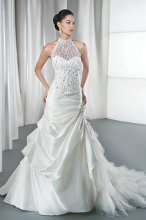 STYLE 2860 Lace Sheath with a Sweetheart neckline, optional sheer lace cap sleeves and attached train. Available in ivory and white