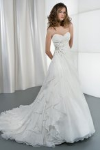 STYLE 3185 Wrap Bodice with Asymmetrical Ruching, Swarovski Crystals Appliques on Waist, Attached Train