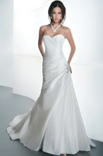 STYLE GR235 Taffeta, fit and flare with asymmetrical ruching, Sweetheart neckline and corset back. Draped skirt features a jeweled appliqué on side and attached train. Available in white, diamond white, ivory