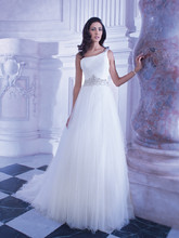 Sensualle STYLE GR248 Soft Tulle, One-shoulder A-line gown with attached jewel-encrusted belt and Chapel train.