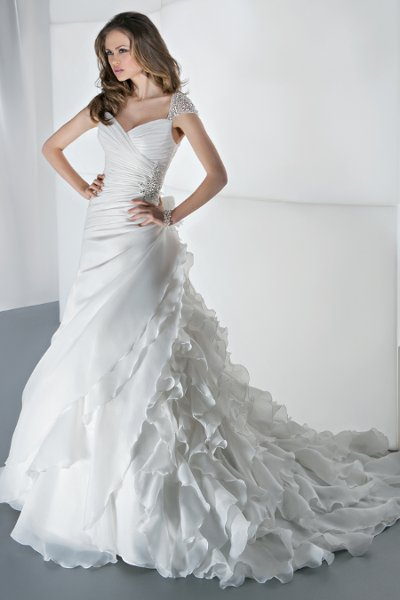 STYLE 3190  Jeweled Cap Sleeves, Ruched Wrap Bodice with Beaded Applique, High Keyhole Back, Attached Train