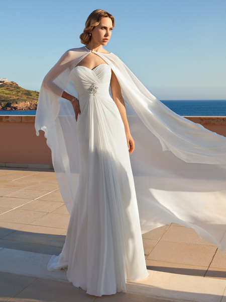 Destination Romance STYLE DR188  Chiffon, Strapless, A-line gown with a Sweetheart neckline and ruched, wrap bodice with beaded brooch. Gown features a Sweep train and matching cape.