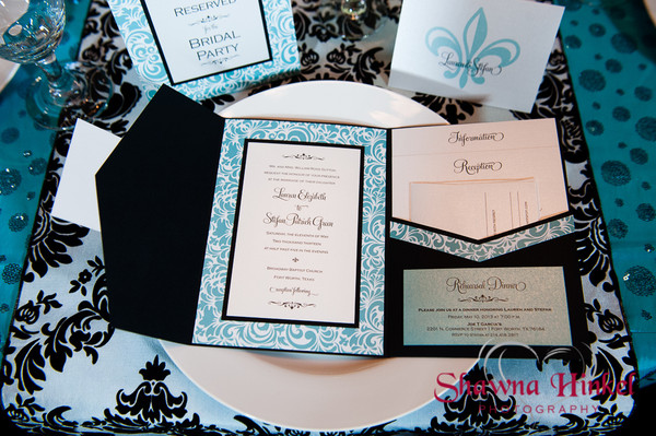 Classic Formal Modern Romantic Black Blue White Fall Invitations – Fall or Winter Theme Invitation Cards