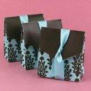 Brown and Aqua Flourish Favor Boxes: These beautiful bright aqua tent favor boxes measure 3