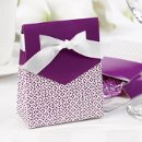"Tent Favor Boxes: These charming white tent favor boxes measure 3"" x 3¾"" x 1⅜"" and feature a bold, grapevine purple flap that matches the delicate pattern covering the bottom portion of the box. Pre-cut, ⅝"" white satin ribbons are included for easy customer assembly."