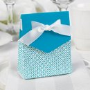 "Tent Favor Boxes: These charming white tent favor boxes measure 3"" x 3¾"" x 1⅜"" and feature a bold, palm blue flap that matches the delicate pattern covering the bottom portion of the box. Pre-cut, ⅝"" white satin ribbons are included for easy customer assembly."