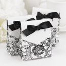 "Floral Tent Favor Boxes: These beautiful white tent favor boxes measure 3"" x 3¾"" x 1⅜"" and feature a delicate black floral pattern with bold contrasting white flaps. Pre-cut, ⅝"" black satin ribbons are included for easy customer assembly."