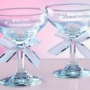 "25th Anniversary Champagne Toasting Glasses: These classic 25th anniversary champagne toasting glasses feature ""25th Anniversary"" in silver ink and are decorated with silver-edged white ribbon bows. Set of two glasses; each is 4½"" tall. Can be personalized with names and date."
