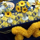 University of Michigan, football themed tablescape and fresh and artificial/silk centerpieces designed by Something Floral.
