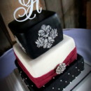 Elegantly modern 3 tier cake, done in fondant with quilting, gathered layers, and stenciled damask.