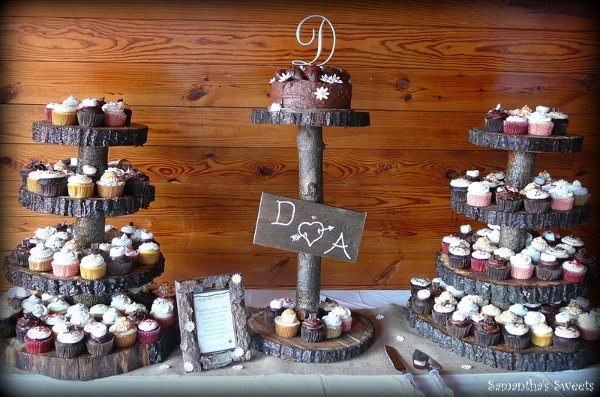 Rustic Wedding Cake And Cupcakes Brown Burgundy Fall Cakes Photos