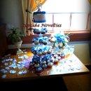 130x130 sq 1352763757304 cupcakenoveltiesblueivorycuttingcakecupcakesweddingbutterfliesroses