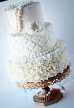 220x220 1389484575510 vintage ivory ruffles quatrefoil pearls wedding c
