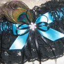 Bridal Garter Set Teal Blue Satin and Black Lace with Peacock Feather, Rhinestone and Bows