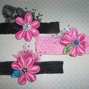 Set of 3 Pink and Black Baby HeadBands with Round Petal Daisy Kanzashi Flowers for Photo Prop or Wedding, Rockabilly Style DeviledHeadBands/Etsy