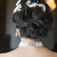 220x220 sq 1429931554092 fancy sleek updo asian bridal glamourous bride by