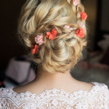 220x220 sq 1488673329106 bridal romantic updo side hairstyle la los angeles