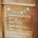 A wooden window and a cute illustration are ideal for a rustic wedding.