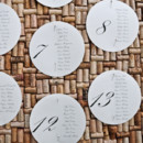 Paper circles pinned to a board create a striking seating chart.