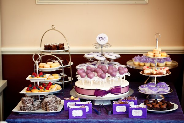 Create a small display full of cookies and treats. You can hire a caterer to provide these for you, or get all of the bridesmaids together to pitch in their platters and baking skills. <br> Caterer:  TipsyCake<br> Floral Designer:  Pistil & Vine<br> Cake Designer:  TipsyCake